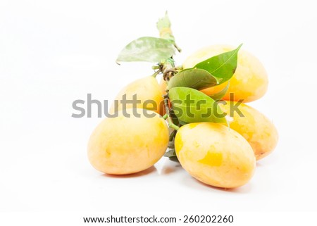 Marian plum or Maprang fruits of Thailand , on white background