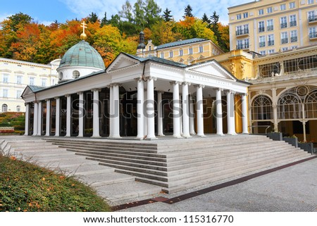 Marianske Lazne Spa, Cross Spring Pavilion. The most famous spring heavily mineralized with a laxative effect.  Czech Republic, Europe - stock photo