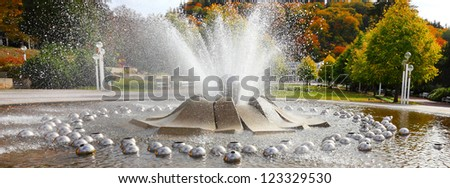 Marianske Lazne Spa, The Singing Fountain. The most famous fountain contains 10 intrinsic water jet systems with more than 250 water jets. - stock photo