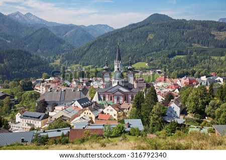 Mariazell - Basilica of the Birth of the Virgin Mary - holy shrine from east Austria - stock photo