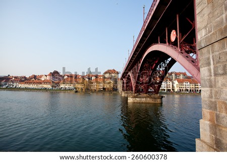 Maribor in Slovenia with river Drava - stock photo