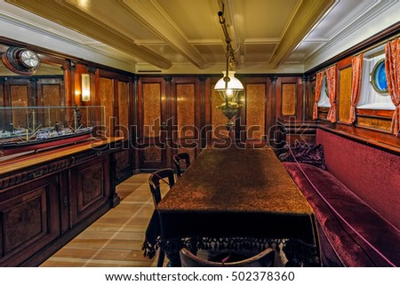 MARIEHAMN, ALAND, FINLAND - October 07, 2016: Interior of captain saloon from sail ship in Aland maritime museum in Mariehamn, Aland