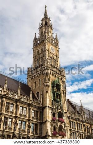 Marienplatz town hall of Munich, Germany in a summer day - stock photo