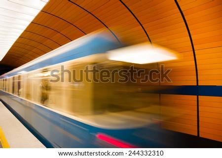 Marienplatz underground station in Munich, Germany - stock photo