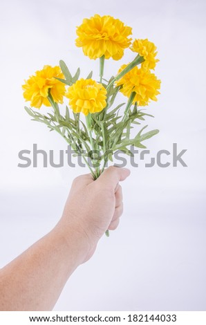 Marigold flowers made from a fabric.