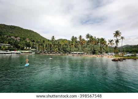 MARIGOT BAY/SAINT LUCIA - 09 JANUARY 2016: Marigot Bay is located on the west coast of the Caribbean island of St Lucia. - stock photo