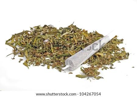 Marihuana joint with marihuana - stock photo