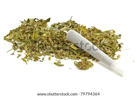 Marihuana joint with marihuana - stock photo