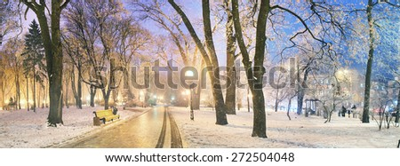 Mariinsky garden during inclement weather has its charm and Sharm glow lamps, soft snow- winding paths and roads - is a favorite place of citizens of the Ukrainian capital at all times of the year