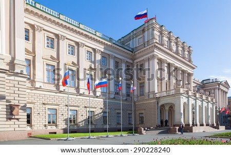 Mariinsky Palace built between 1839-1844 to a design by the court architect A.Stackensneider St. Petersburg Legislative Assembly - stock photo
