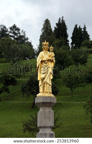 MARIJA BISTRICA, CROATIA - JULY 14: Our Lady of Marija Bistrica, basilica Assumption of the Virgin Mary in Marija Bistrica, Croatia, on July 14, 2014 - stock photo