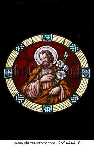 MARIJA BISTRICA, CROATIA - JULY 14: Saint Joseph, stained glass window in Basilica Assumption of the Virgin Mary in Marija Bistrica, Croatia, on July 14, 2014 - stock photo