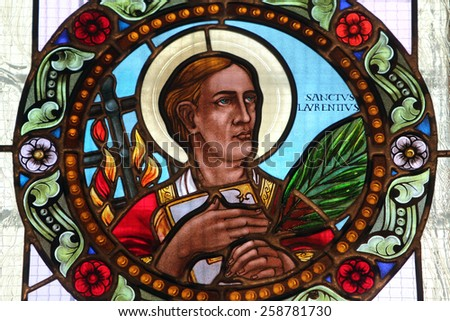 MARIJA BISTRICA, CROATIA - JULY 14: Saint Lawrence of Rome, stained glass window in Basilica Assumption of the Virgin Mary in Marija Bistrica, Croatia, on July 14, 2014 - stock photo
