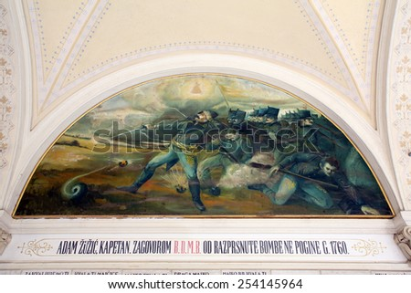 MARIJA BISTRICA, CROATIA - JULY 14: Votive paintings, pilgrimage Sanctuary, Assumption of the Virgin Mary in Marija Bistrica, Croatia, on July 14, 2014 - stock photo