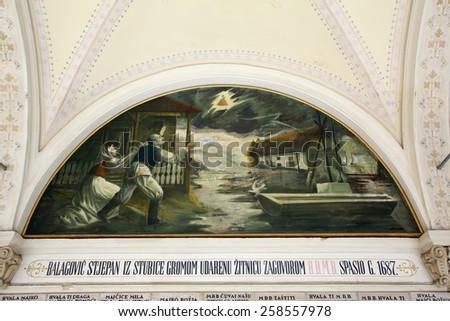 MARIJA BISTRICA, CROATIA - JULY 14: Votive paintings, pilgrimage Sanctuary, Assumption of the Virgin Mary in Marija Bistrica, Croatia, on July 14, 2014 - stock photo