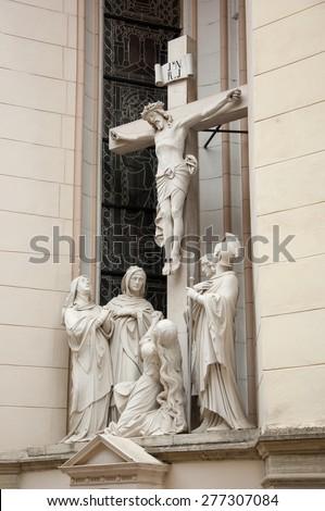 Marija Bistrica, Croatia - May 1, 2015: Crucifixion, Basilica Assumption of the Virgin Mary in Marija Bistrica. - stock photo