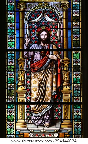 MARIJA BISTRICA, CROATIA - OCTOBER 26: Jesus, stained glass window in Basilica Assumption of the Virgin Mary in Marija Bistrica, Croatia, on October 26, 2013 - stock photo