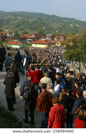 MARIJA BISTRICA, CROATIA - SEP 14: Unidentified participants of the Way of the Cross in Croatian national shrine of the Virgin Mary on Sep 14, 2013 in Marija Bistrica, Croatia - stock photo