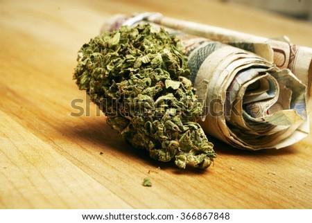 Marijuana and Cannabis Buds and Money, Drug Business  - stock photo