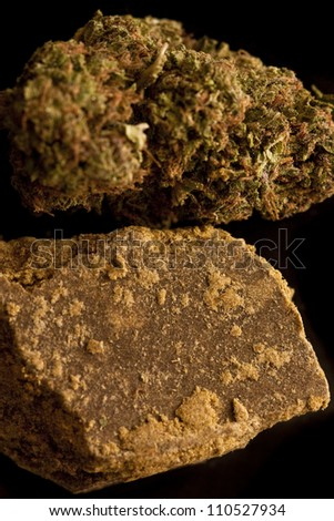 Marijuana and Hashish isolated on a black background. - stock photo