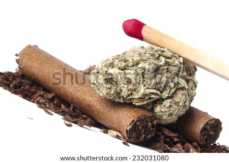 Marijuana and Tobacco on White Background