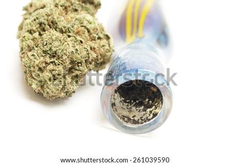 Marijuana Bowl , Glass Pipe  - stock photo