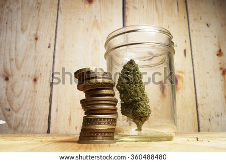 Marijuana Business, US and Foreign Money  - stock photo