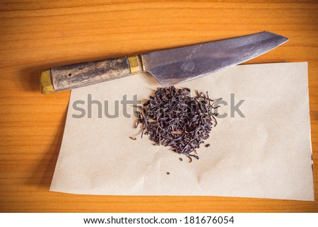 marijuana drugs and knife - stock photo