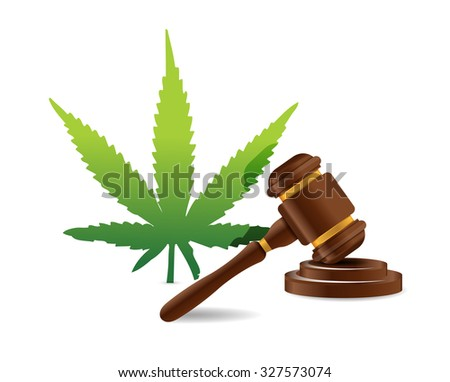 marijuana law hammer illustration design graphic icon - stock photo