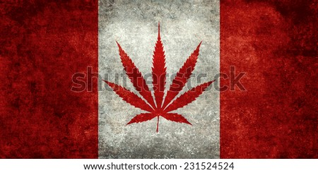 Marijuana leaf replacing the Maple leaf on the Canadian flag - Dirty vintage version - stock photo