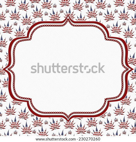Marijuana Leaves Frame with Embroidery Background with center for copy-space - stock photo