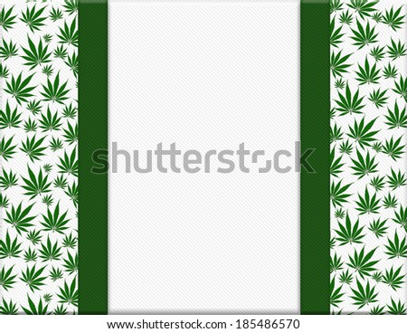 Marijuana Leaves Frame with Ribbon Background with center for copy-space - stock photo