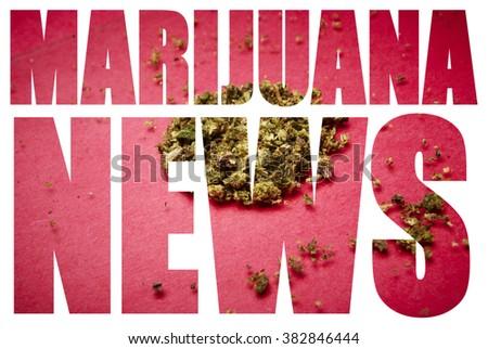 Marijuana News, Headline Text & Image on White Background  - stock photo