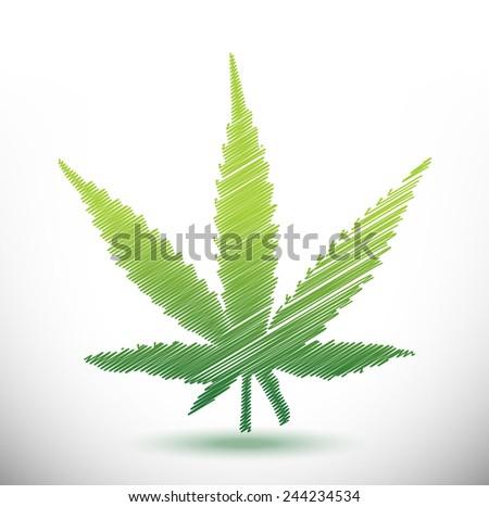 marijuana scribble illustration design over a white background - stock photo