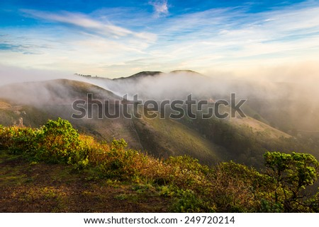 Marin Headland in fog - stock photo