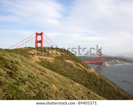 Marin Headlands and Golden Gate Bridge with San Francisco in the Distance - stock photo