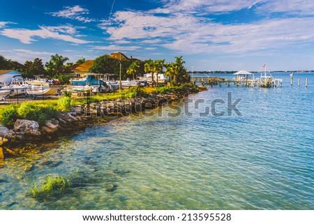 Marina along the Tolomato River, in Vilano Beach, Florida. - stock photo