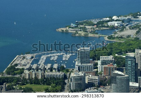 Marina and boats in Toronto seen from above - stock photo