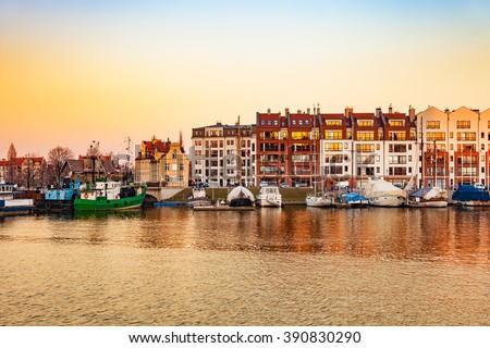 Marina at Motlawa river at sunrise in Gdansk, Poland. - stock photo