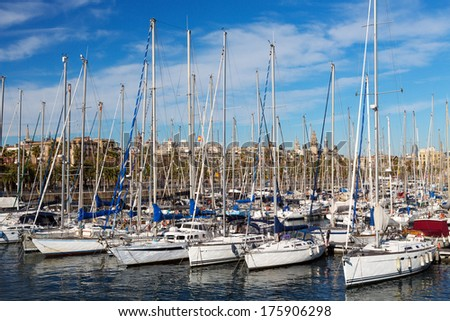 Marina at the Port of Barcelona in Spain illuminated by the sun.
