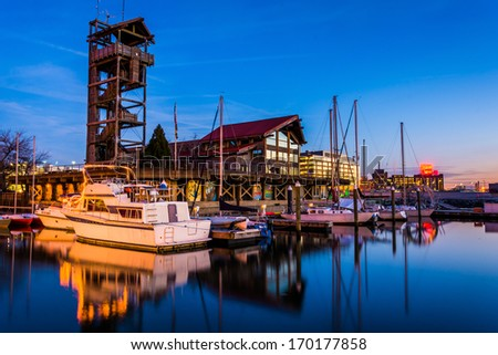 Marina at twilight, in Harbor East, Baltimore, Maryland. - stock photo