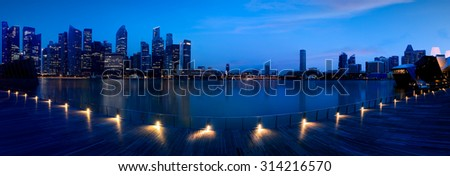 Marina bay at morning, View from Marina bay sands