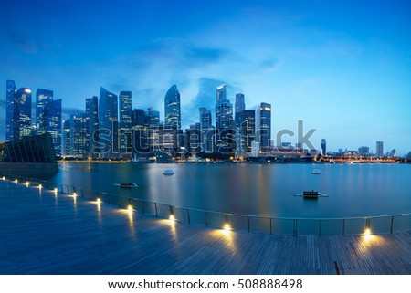 Marina bay at morning, View from Marina bay sands, Singapore skyline, Marina Bay is a bay located in the Central Area of Singapore. Marina bay is business district of singapore.