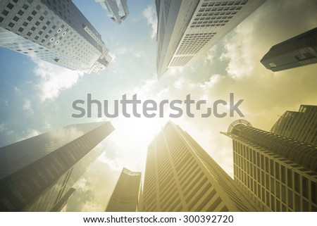 MARINA BAY, SINGAPORE-Mar 16: Business Building in Marina Bay again blue sky ,March 16, 2015,City wonderful buildings in Singapore. - stock photo