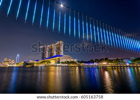 MARINA BAY, SINGAPORE - Mar 10, 2017: Light art piece setup in accordance to iLight Marina Bay- Asia's leading sustainable light art festival, held in the Marina Bay district of Singapore.