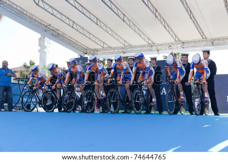 MARINA DI CARRARA, CARRARA, ITALY - MARCH 09: Team Rabobank during the 1st Time Trial stage of 2011 Tirreno-Adriatico on March 09, 2011 in Marina di Carrara, Carrara, Italy - stock photo