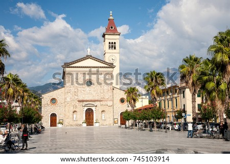 Marina di Carrara, Italy - 2017, September 26 : The Sacra Familia church in the Menconi square of the  town of Marina di Carrara in Tuscany, Italy