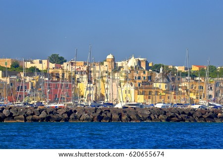 Marina Grande as seen from the sea on the island of Procida, the bay of Naples, southern Italy