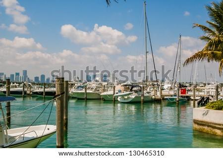 Marina in Miami Beach - stock photo
