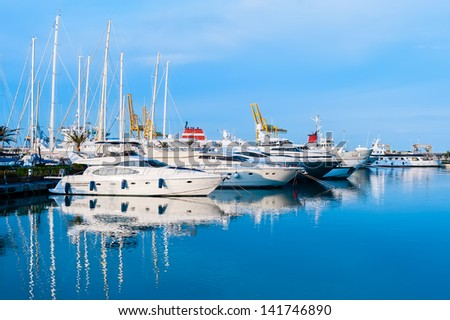Marina in Valencia, Spain, Mediterranean sea. - stock photo